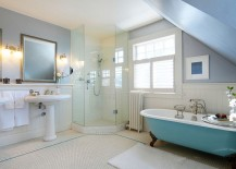 Traditional bathroom with a splash of blue and corner shower stall 217x155 30 Creative Ideas to Transform Boring Bathroom Corners