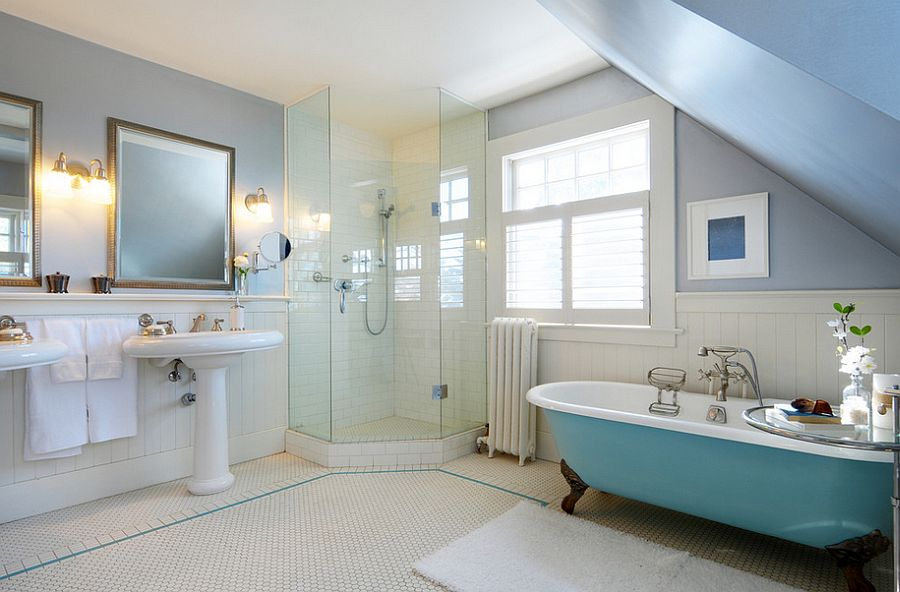 Traditional bathroom with a splash of blue and corner shower stall [From: Lifeseven Photography]