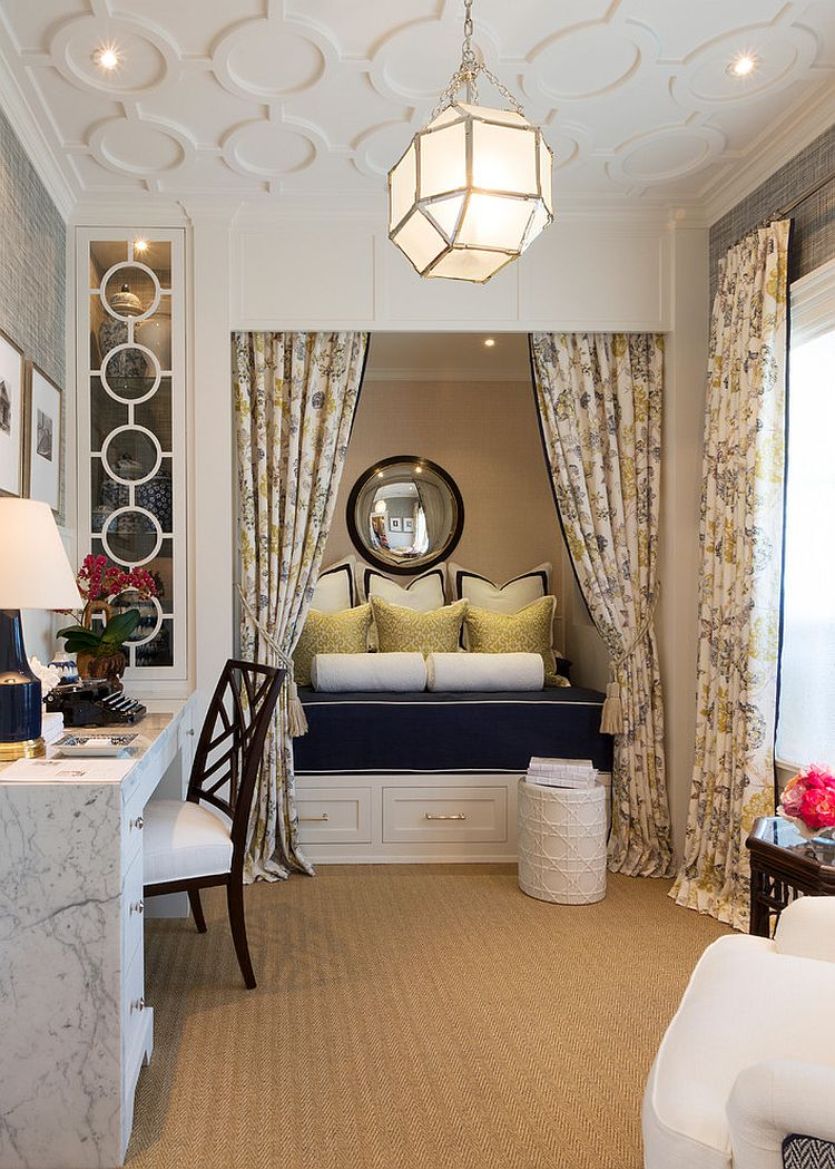 ... Traditional home office turned into a gorgeous guestroom [Design:  Robert Frank / Carolyn Reyes