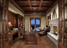 Traditional home office with coffered ceiling and a lovely fireplace [Design: PHX Architecture]