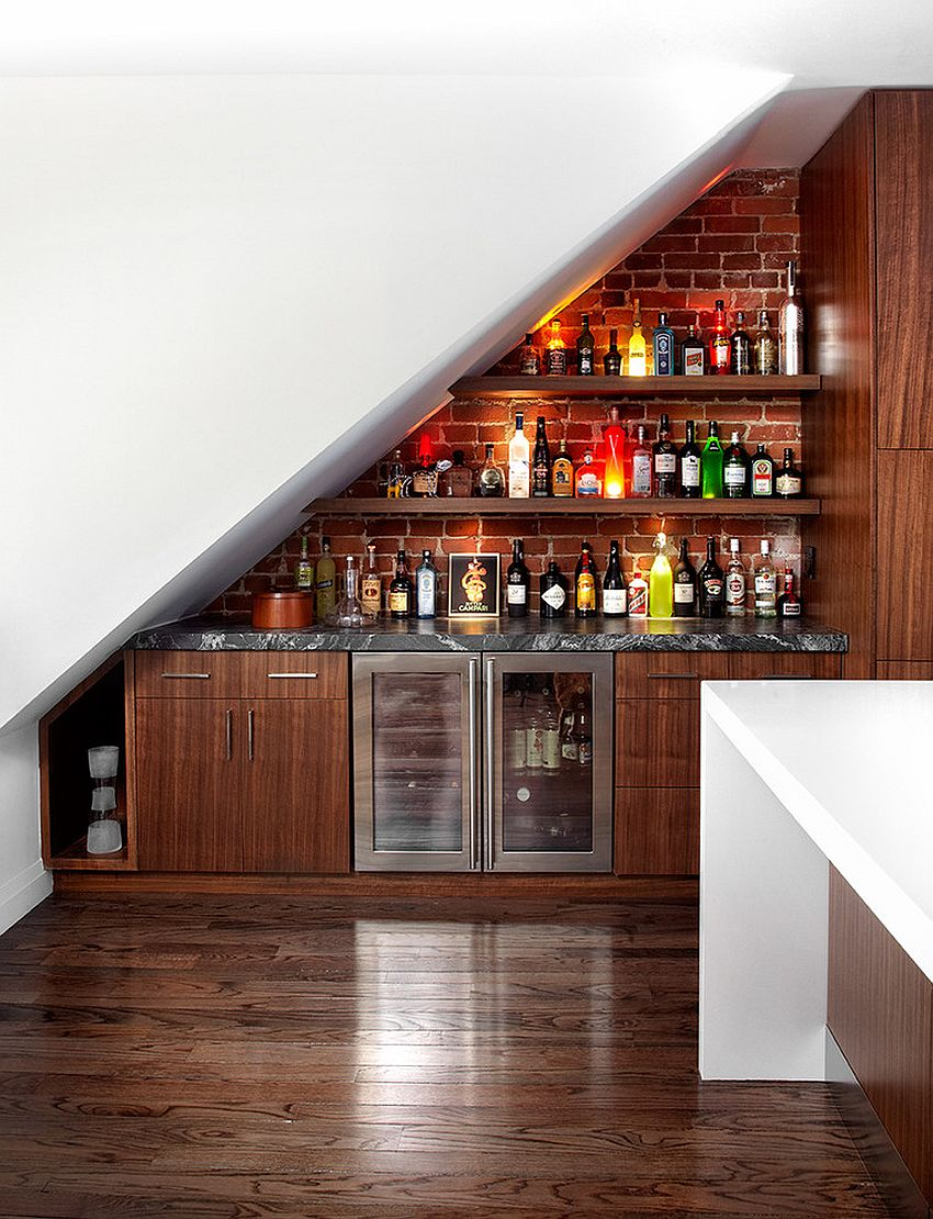 View In Gallery Transform The Space Under The Stairs Into A Contemporary  Home Bar [Design: Palmerston Design