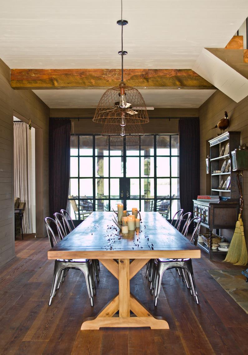Trestle table in a farmhouse-style dining room