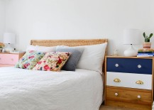 Use color to give the bedside tables a unique personality