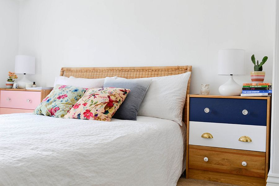 Use color to give the bedside tables a unique personality [From: Planning Pretty]