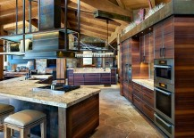 V-shaped kitchen island with wooden cabinets