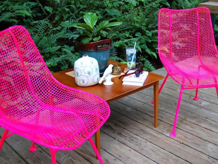 Vibrant pink metal chairs