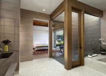 View of the bedroom from the spa-styled bathroom