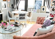 Vintage-sofa-in-pink-and-drapes-in-black-and-white-for-the-eclectic-space-217x155