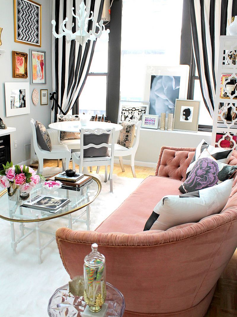 Vintage sofa in pink and drapes in black and white for the eclectic space [Design: Nichole Loiacono Design]