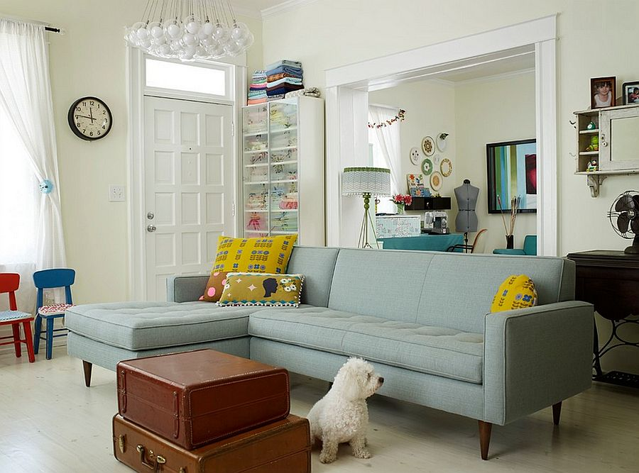 Vintage suitcases replace the traditional coffee table in this living room [Design: Renewal Design-Build]