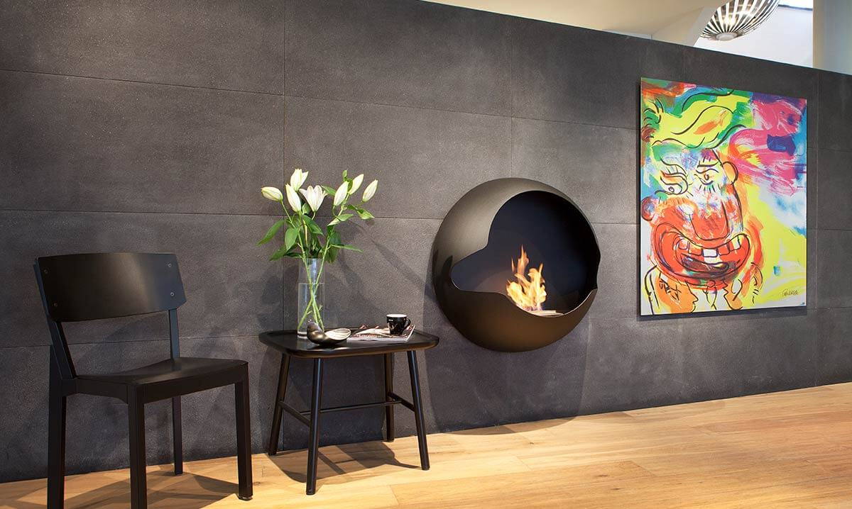 Wall mounted fireplace from Vauni
