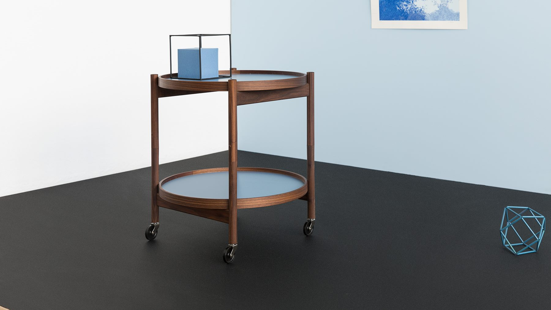 Walnut & blue Bolling Tray Table