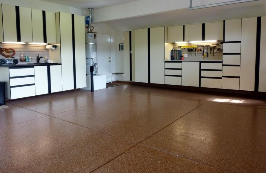 Warm-toned garage with a professional epoxy floor