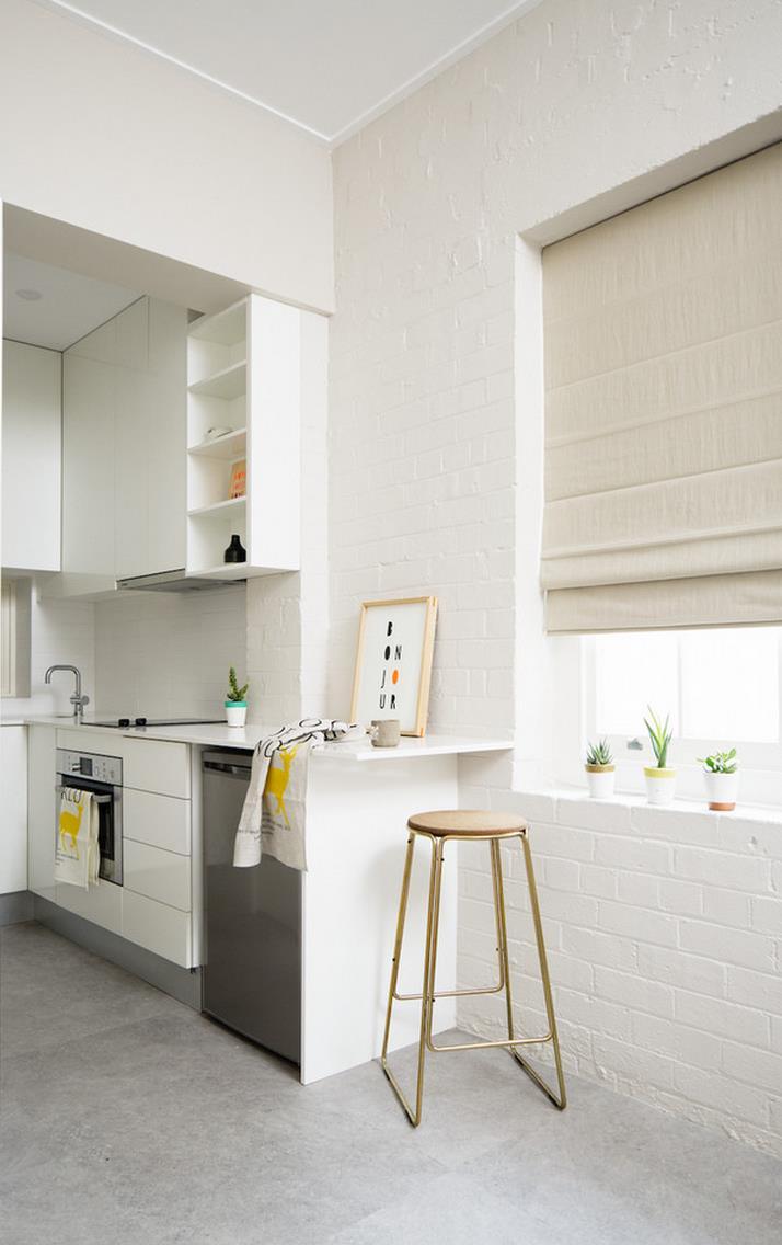 White brick wall in a modern kitchen