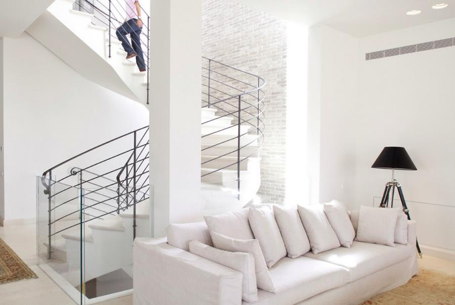 White brick wall in a modern stairwell