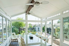 White cathedral style sunroom with a smart dining space [Design: LivingSpace Sunrooms]  50 Bright and Beautiful Contemporary Sunrooms White cathedral style sunroom with a smart dining space 270x180