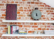 White floating shelves for the brick wall