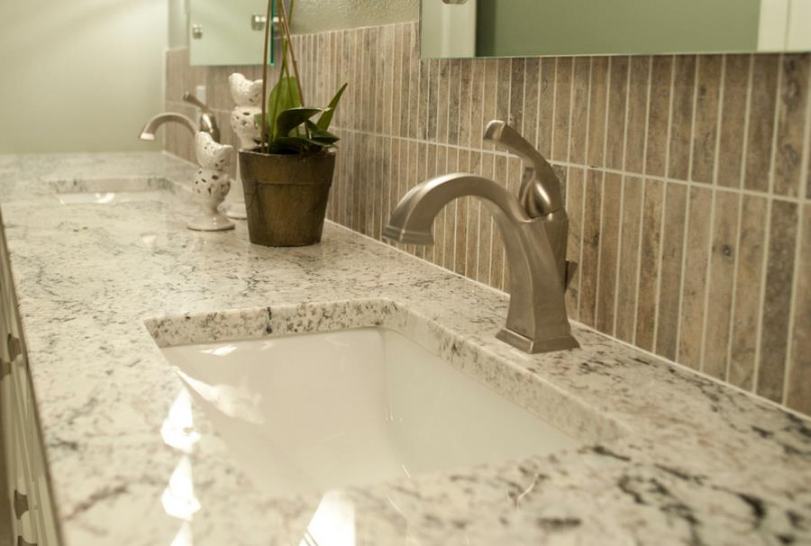White ice granite in the powder room