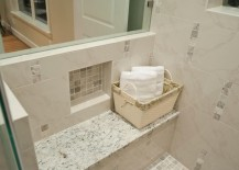 White ice granite shower seat