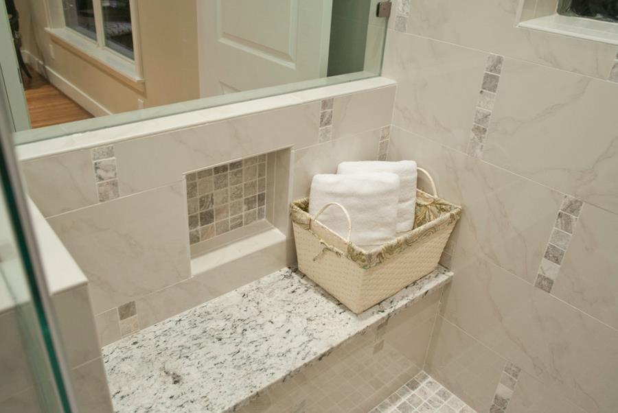 White Ice Granite Shower Seat Decoist