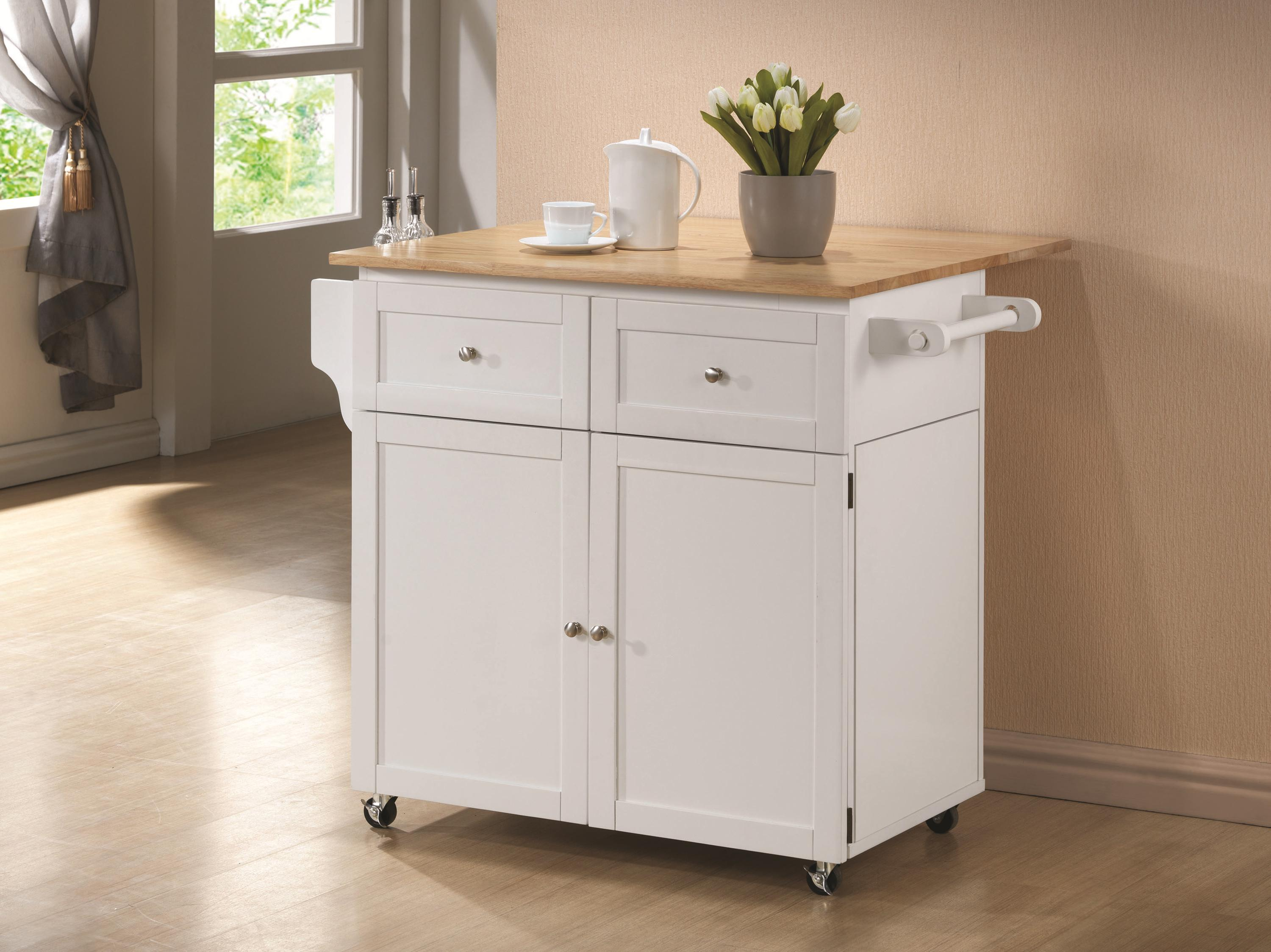 superior Kitchen Garbage Can Cabinet #3: View in gallery White kitchen cart for extra storage