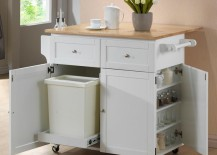 White kitchen cart with trash compartment
