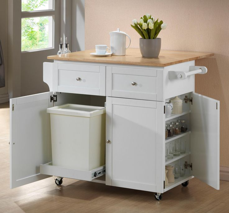 Superbe View In Gallery White Kitchen Cart With Trash Compartment