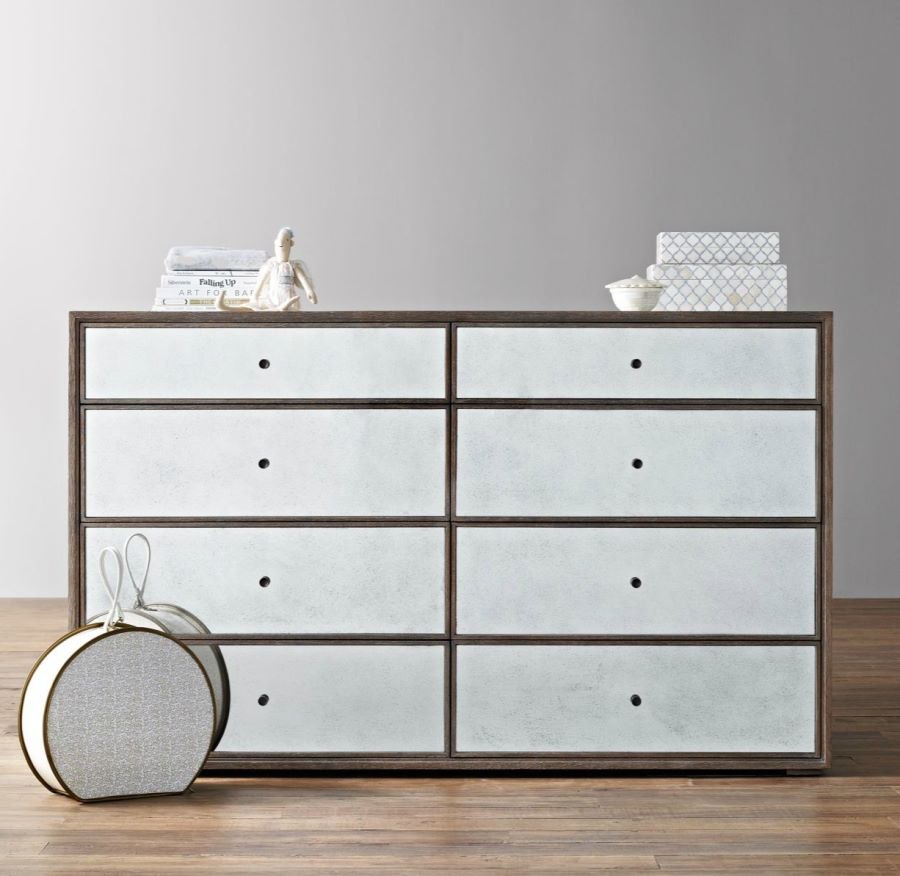 Wide mirrored dresser from RH Baby & Child