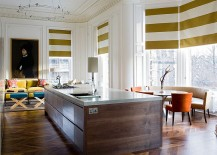 Window blinds bring stripes to this contemporary kitchen