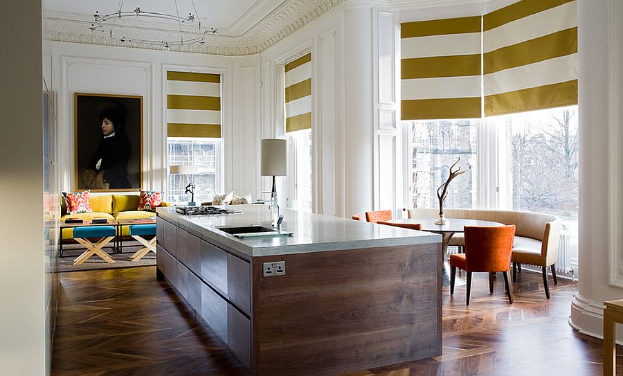 Window Blinds Bring Stripes To This Contemporary Kitchen Design Grosvenor Crescent
