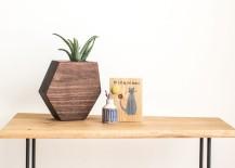 Wooden hexagon planter from Boyce Studio
