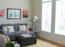 Yellow Moroccan rug brings some much needed color to a living room