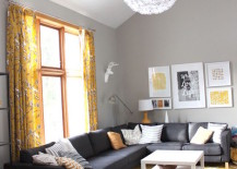 Yellow Moroccan rug in living room