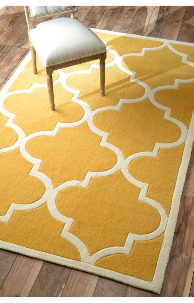 Yellow Moroccan trellis rug from Rugs USA