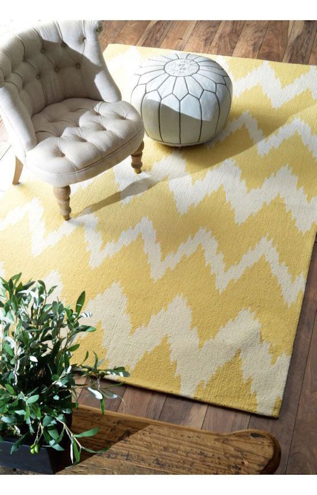 Yellow Radiante Nuo Chevron Ikat rug from Rugs USA