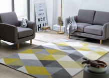 Yellow and gray rug adds a subtle pop of color