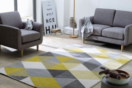 Yellow and gray rug adds a subtle pop of color  25 Yellow Rug and Carpet Ideas to Brighten up Any Room Yellow and gray rug adds a subtle pop of color