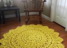 Yellow doily rug