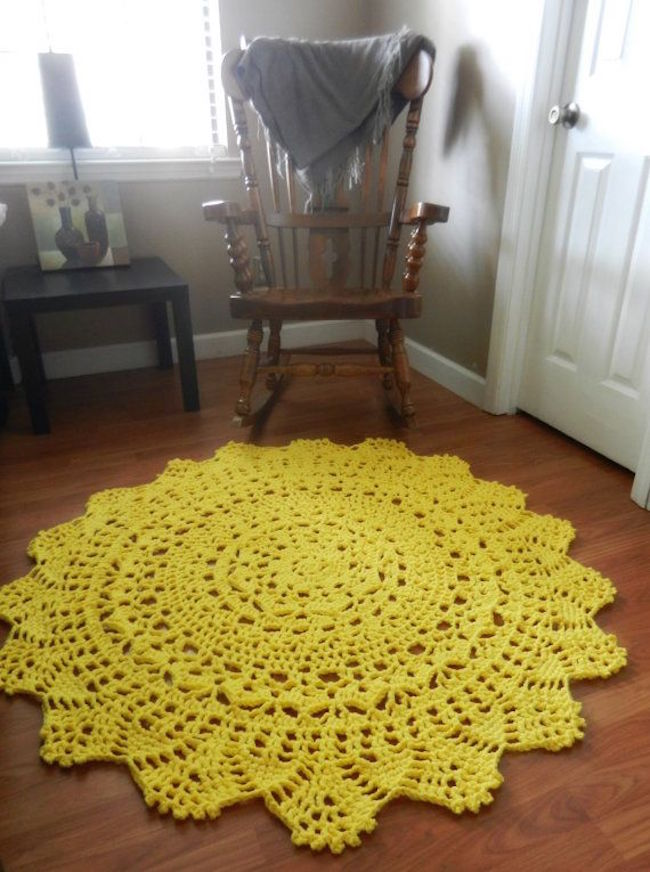 Yellow doily rug