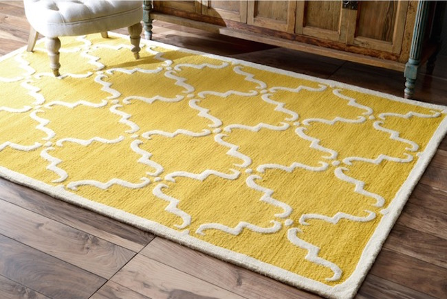 Yellow nuLOOM Luna Marrakesh Trellis wool rug from Overstock  25 Yellow Rug and Carpet Ideas to Brighten up Any Room Yellow nuLOOM Luna Marrakesh Trellis wool rug from Overstock