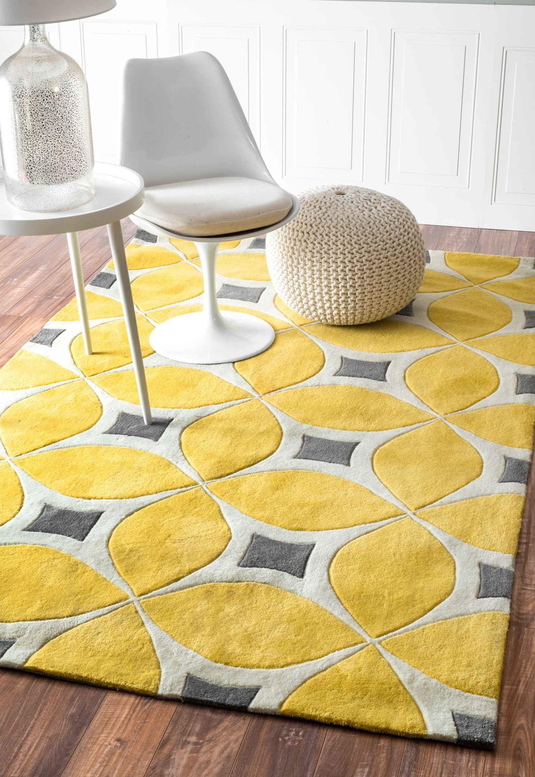 Yellow nuLOOM handmade modern disco rug from Overstock  25 Yellow Rug and Carpet Ideas to Brighten up Any Room Yellow nuLOOM handmade modern disco rug from Overstock1