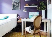 Yellow rug in purple bedroom