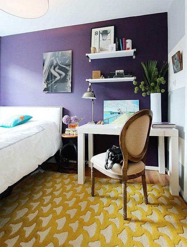 Yellow rug in purple bedroom  25 Yellow Rug and Carpet Ideas to Brighten up Any Room Yellow rug in purple bedroom