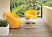 Yellow swivel chairs from Room & Board