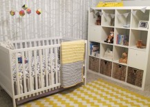 Yellow zigzag rug used in nursery