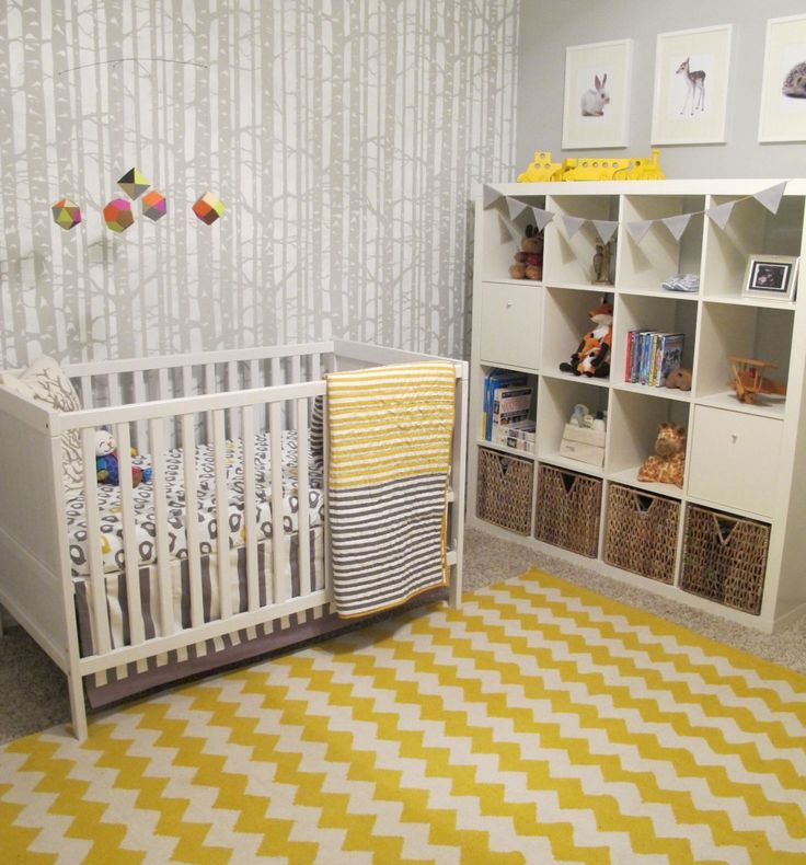 Yellow zigzag rug used in nursery