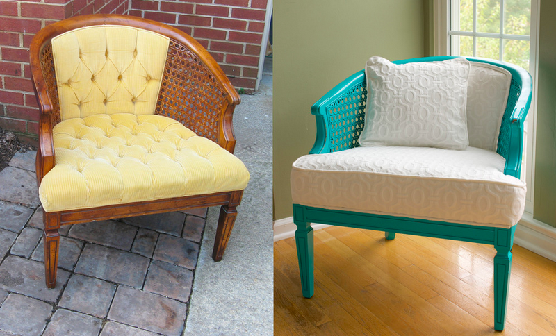 A boring chair is converted to a pretty aqua dream