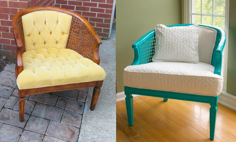 A boring chair is converted to a pretty aqua dream