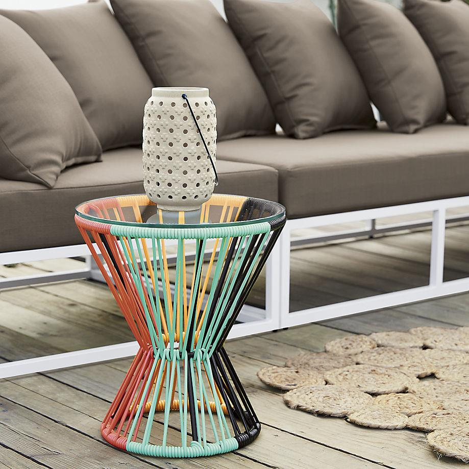 colorful woven PVC table from CB2