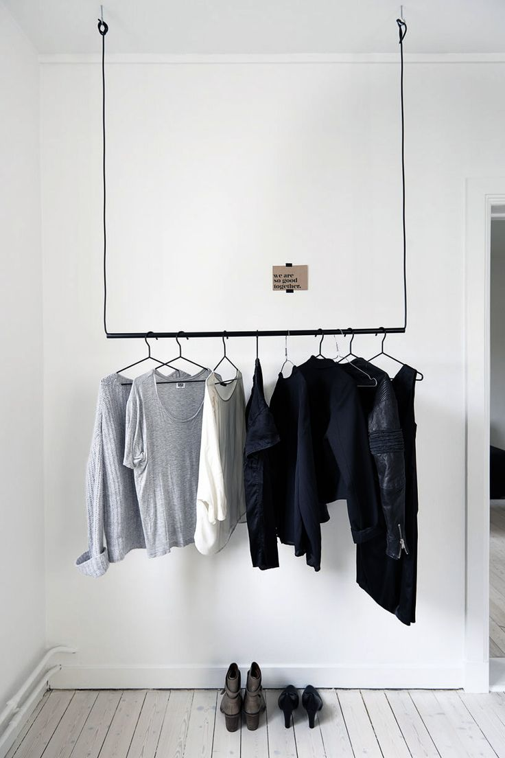 Simple hanging pole with wire to hang clothing
